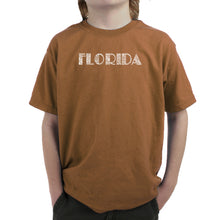 Load image into Gallery viewer, LA Pop Art Boy's Word Art T-shirt - POPULAR CITIES IN FLORIDA