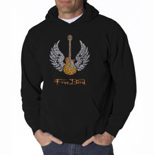 Load image into Gallery viewer, LA Pop Art Men's Word Art Hooded Sweatshirt - LYRICS TO FREE BIRD