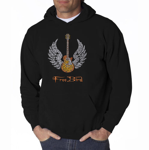 LA Pop Art Men's Word Art Hooded Sweatshirt - LYRICS TO FREE BIRD