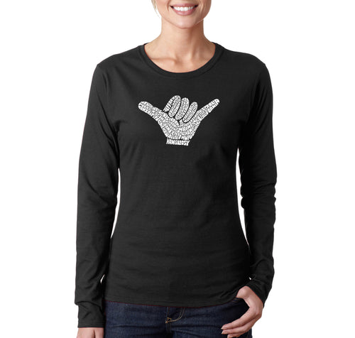 LA Pop Art Women's Word Art Long Sleeve T-Shirt - TOP WORLDWIDE SURFING SPOTS