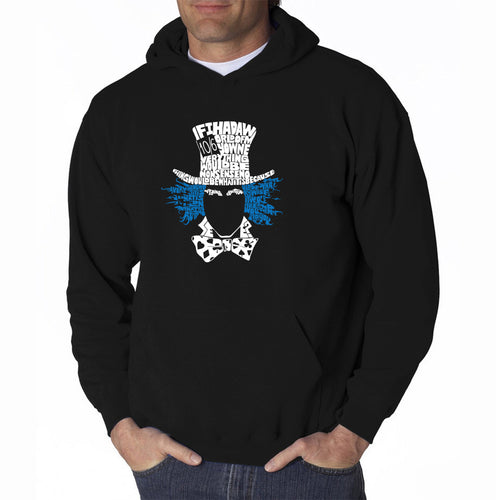 LA Pop Art Men's Word Art Hooded Sweatshirt - The Mad Hatter