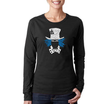 Load image into Gallery viewer, LA Pop Art Women's Word Art Long Sleeve T-Shirt - The Mad Hatter
