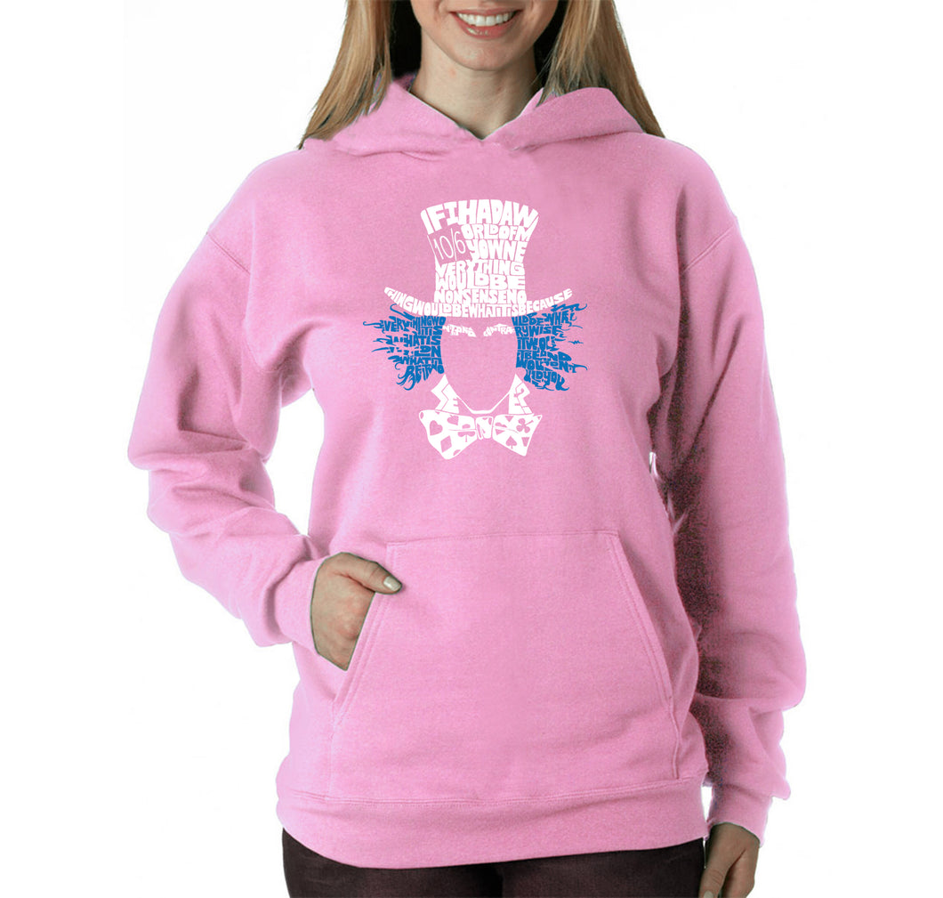 LA Pop Art Women's Word Art Hooded Sweatshirt -The Mad Hatter