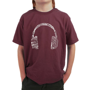 LA Pop Art Boy's Word Art T-shirt - HEADPHONES - LANGUAGES