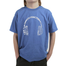 Load image into Gallery viewer, LA Pop Art Boy's Word Art T-shirt - HEADPHONES - LANGUAGES