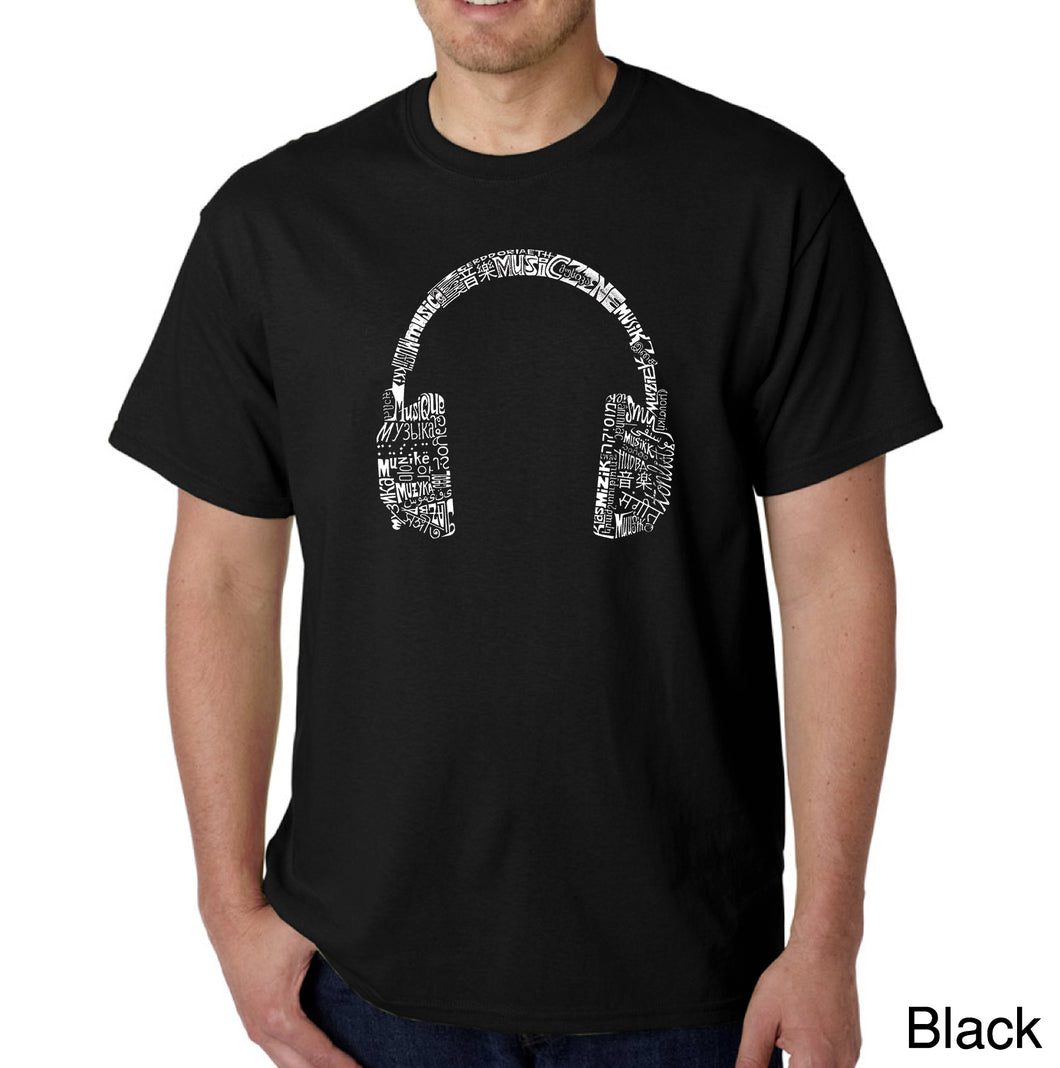 LA Pop Art Men's Word Art T-shirt - HEADPHONES - LANGUAGES