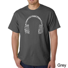 Load image into Gallery viewer, LA Pop Art Men's Word Art T-shirt - HEADPHONES - LANGUAGES