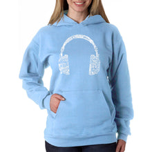 Load image into Gallery viewer, LA Pop Art Women's Word Art Hooded Sweatshirt -HEADPHONES - LANGUAGES