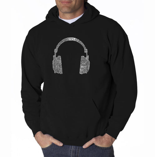 LA Pop Art Men's Word Art Hooded Sweatshirt - 63 DIFFERENT GENRES OF MUSIC