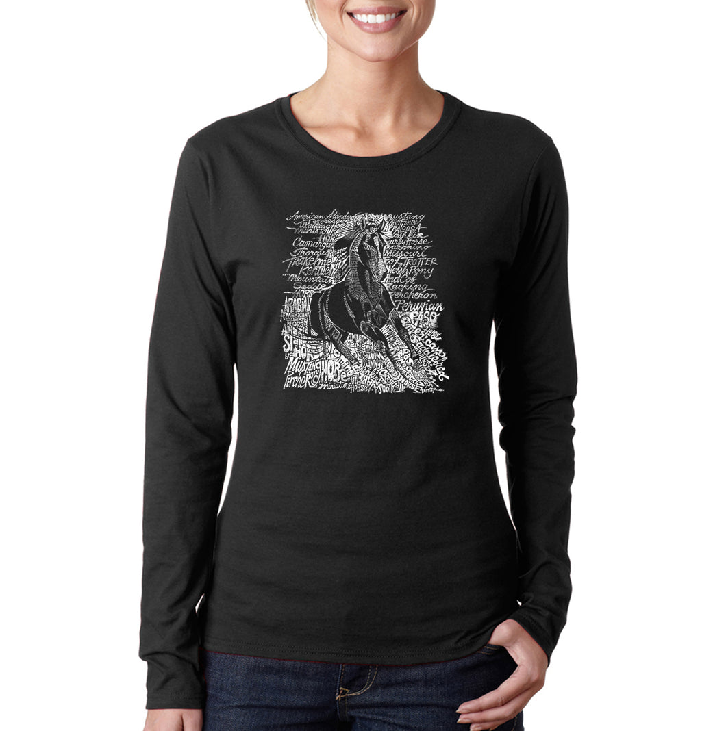 LA Pop Art Women's Word Art Long Sleeve T-Shirt - POPULAR HORSE BREEDS