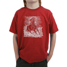 Load image into Gallery viewer, LA Pop Art Boy's Word Art T-shirt - POPULAR HORSE BREEDS