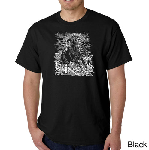LA Pop Art Men's Word Art T-shirt - POPULAR HORSE BREEDS