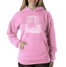 Load image into Gallery viewer, LA Pop Art Women's Word Art Hooded Sweatshirt -POPULAR HORSE BREEDS