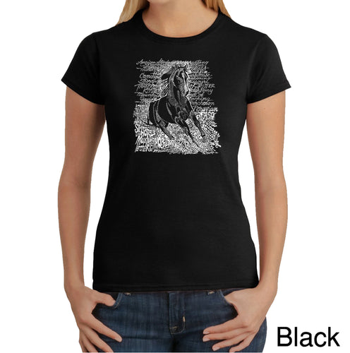 LA Pop Art Women's Word Art T-Shirt - POPULAR HORSE BREEDS