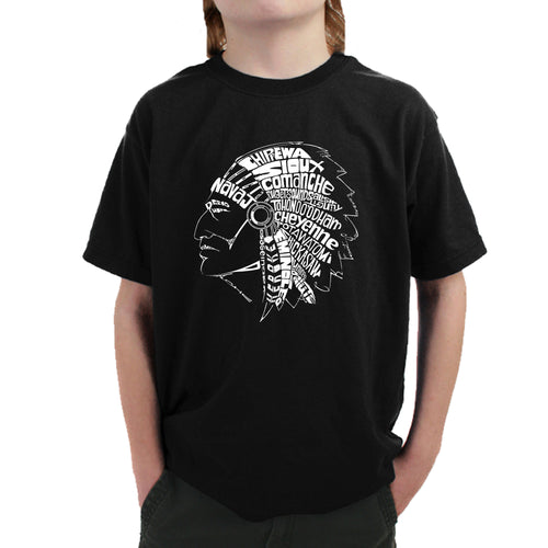 LA Pop Art Boy's Word Art T-shirt - POPULAR NATIVE AMERICAN INDIAN TRIBES
