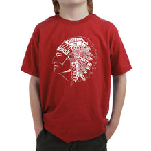 Load image into Gallery viewer, LA Pop Art Boy's Word Art T-shirt - POPULAR NATIVE AMERICAN INDIAN TRIBES