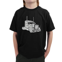 Load image into Gallery viewer, LA Pop Art Boy's Word Art T-shirt - KEEP ON TRUCKIN'