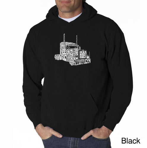 LA Pop Art Men's Word Art Hooded Sweatshirt - KEEP ON TRUCKIN'