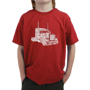 LA Pop Art Boy's Word Art T-shirt - KEEP ON TRUCKIN'