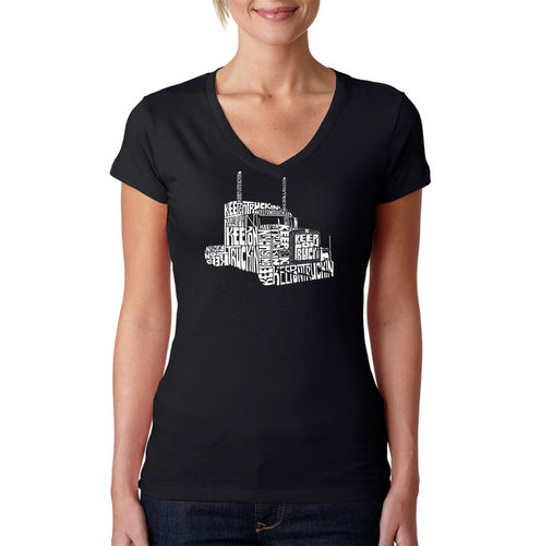 LA Pop Art Women's Word Art V-Neck T-Shirt - KEEP ON TRUCKIN'