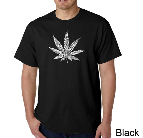 LA Pop Art Men's Word Art T-shirt - 50 DIFFERENT STREET TERMS FOR MARIJUANA