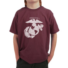 Load image into Gallery viewer, LA Pop Art Boy's Word Art T-shirt - LYRICS TO THE MARINES HYMN