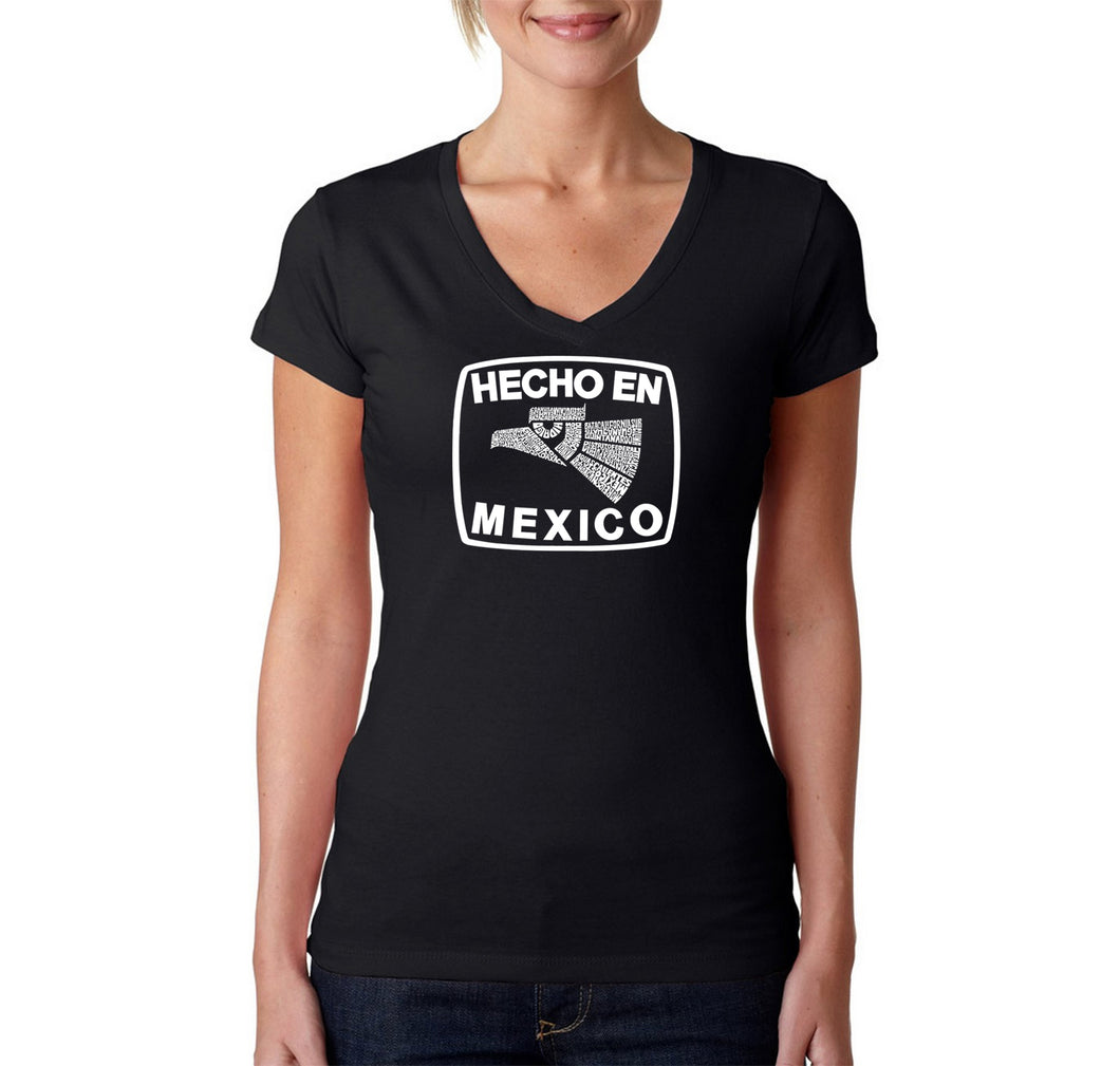 LA Pop Art Women's Word Art V-Neck T-Shirt - HECHO EN MEXICO