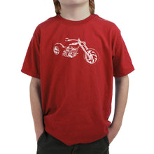 Load image into Gallery viewer, LA Pop Art Boy's Word Art T-shirt - MOTORCYCLE