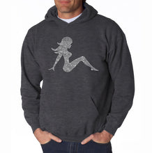 Load image into Gallery viewer, LA Pop Art Men's Word Art Hooded Sweatshirt - MUDFLAP GIRL