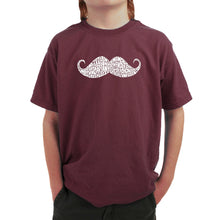 Load image into Gallery viewer, LA Pop Art Boy's Word Art T-shirt - WAYS TO STYLE A MOUSTACHE