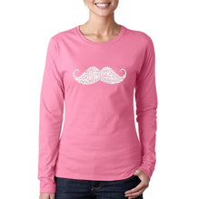 Load image into Gallery viewer, LA Pop Art Women's Word Art Long Sleeve T-Shirt - WAYS TO STYLE A MOUSTACHE