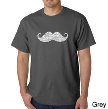 Load image into Gallery viewer, LA Pop Art Men's Word Art T-shirt - WAYS TO STYLE A MOUSTACHE