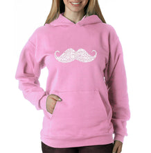 Load image into Gallery viewer, LA Pop Art Women's Word Art Hooded Sweatshirt -WAYS TO STYLE A MOUSTACHE