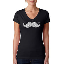 Load image into Gallery viewer, LA Pop Art Women's Word Art V-Neck T-Shirt - WAYS TO STYLE A MOUSTACHE