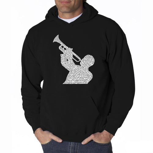 LA Pop Art Men's Word Art Hooded Sweatshirt - ALL TIME JAZZ SONGS
