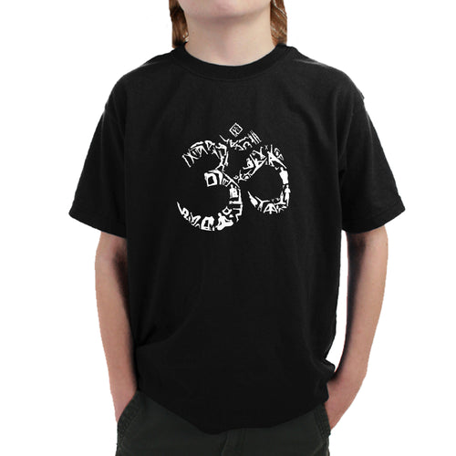 LA Pop Art Boy's Word Art T-shirt - THE OM SYMBOL OUT OF YOGA POSES
