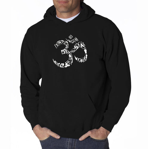 LA Pop Art Men's Word Art Hooded Sweatshirt - THE OM SYMBOL OUT OF YOGA POSES