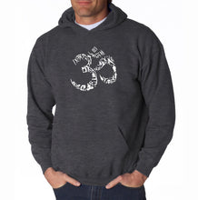 Load image into Gallery viewer, LA Pop Art Men's Word Art Hooded Sweatshirt - THE OM SYMBOL OUT OF YOGA POSES