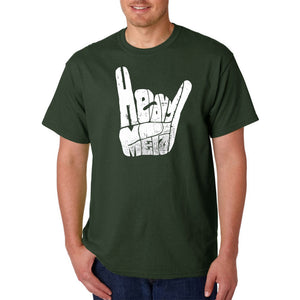LA Pop Art Men's Word Art T-shirt - Heavy Metal