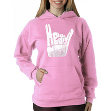 Load image into Gallery viewer, LA Pop Art Women's Word Art Hooded Sweatshirt -Heavy Metal