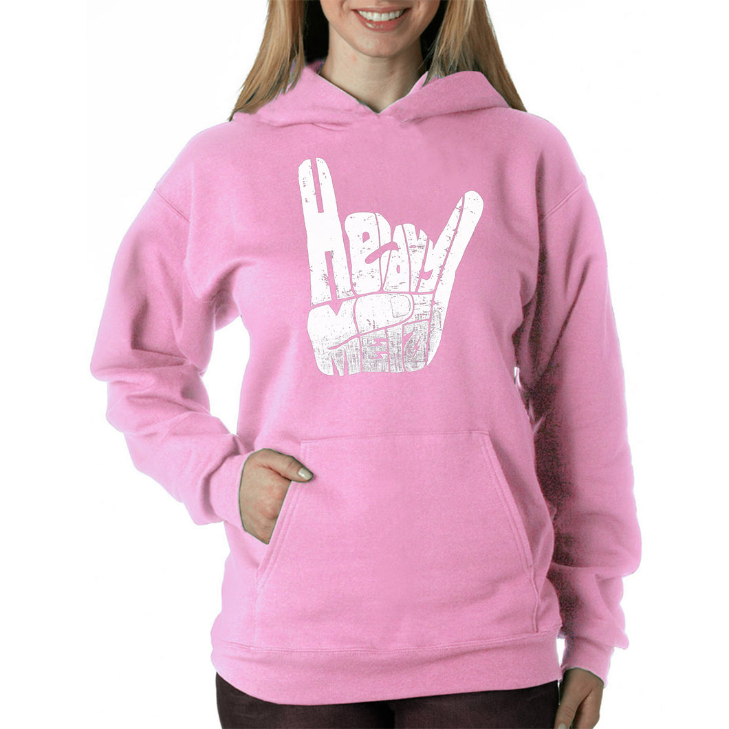 LA Pop Art Women's Word Art Hooded Sweatshirt -Heavy Metal