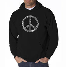 Load image into Gallery viewer, LA Pop Art Men's Word Art Hooded Sweatshirt - THE WORD PEACE IN 77 LANGUAGES