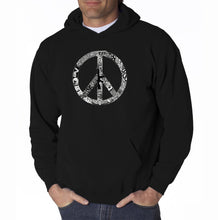 Load image into Gallery viewer, LA Pop Art Men's Word Art Hooded Sweatshirt - PEACE, LOVE, & MUSIC