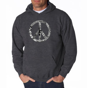LA Pop Art Men's Word Art Hooded Sweatshirt - PEACE, LOVE, & MUSIC