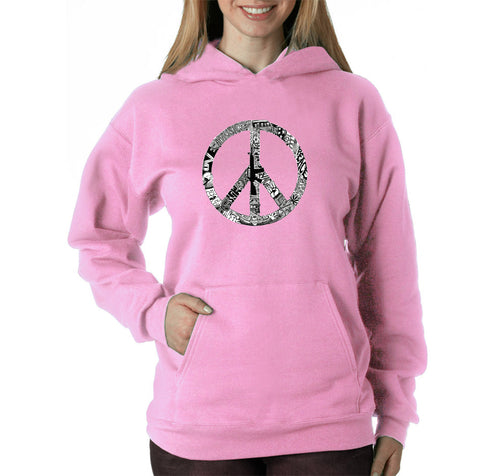 LA Pop Art Women's Word Art Hooded Sweatshirt -PEACE, LOVE, & MUSIC