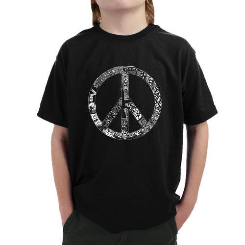 LA Pop Art Boy's Word Art T-shirt - PEACE, LOVE, & MUSIC