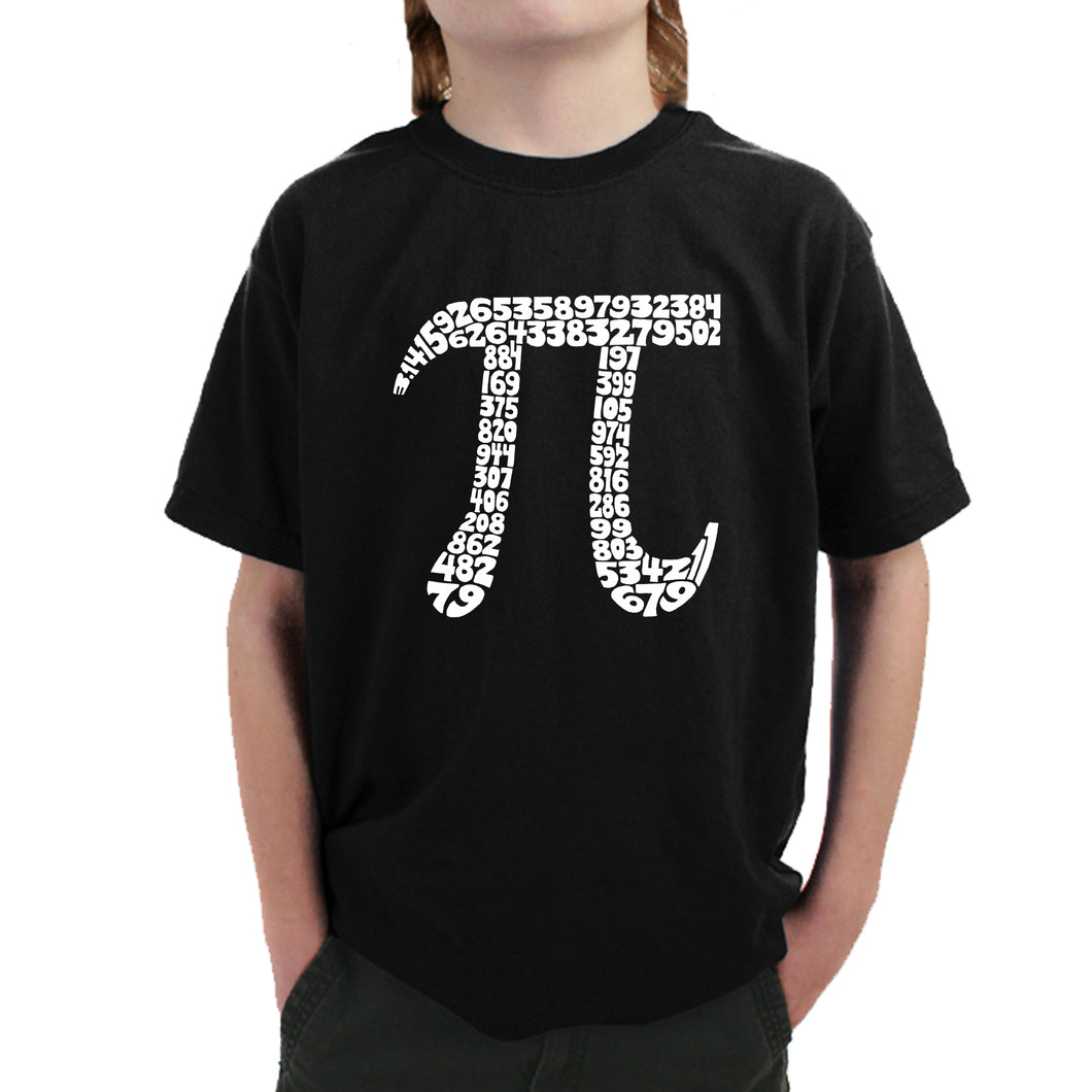 LA Pop Art Boy's Word Art T-shirt - THE FIRST 100 DIGITS OF PI