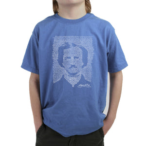 LA Pop Art Boy's Word Art T-shirt - EDGAR ALLAN POE - THE RAVEN