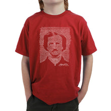 Load image into Gallery viewer, LA Pop Art Boy's Word Art T-shirt - EDGAR ALLAN POE - THE RAVEN