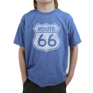 LA Pop Art Boy's Word Art T-shirt - CITIES ALONG THE LEGENDARY ROUTE 66
